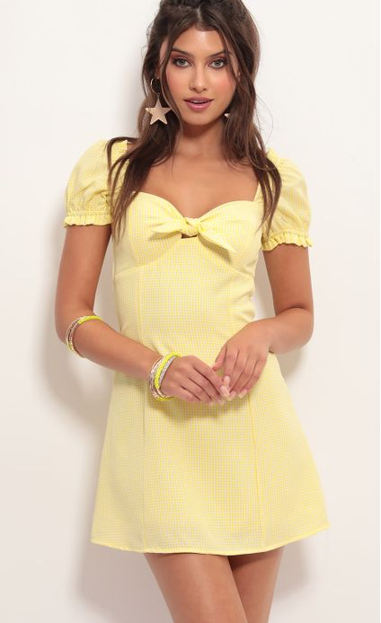 Justina Puff Sleeve Dress In Yellow Gingham