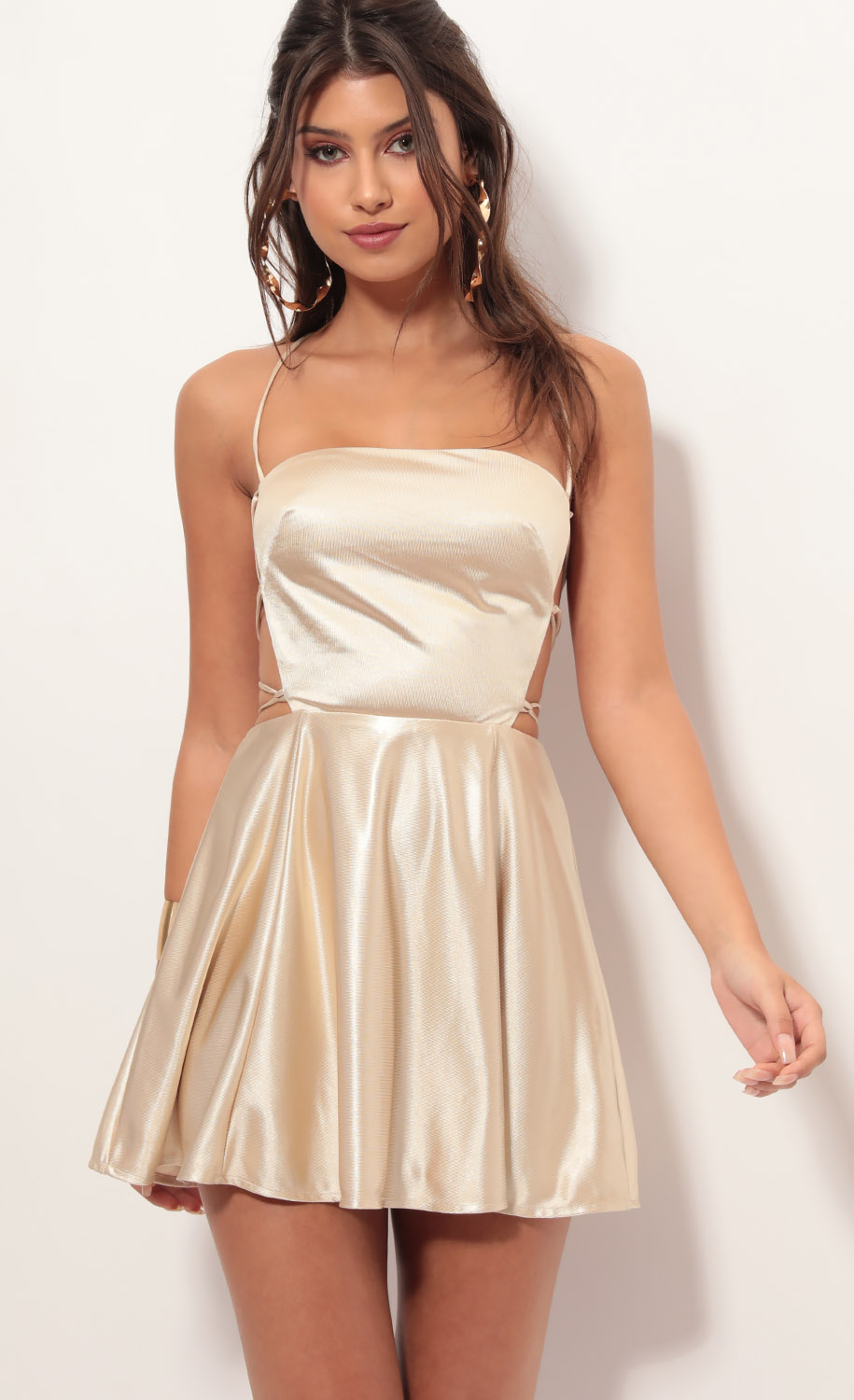 Nina Cutout A-line Dress in Champagne