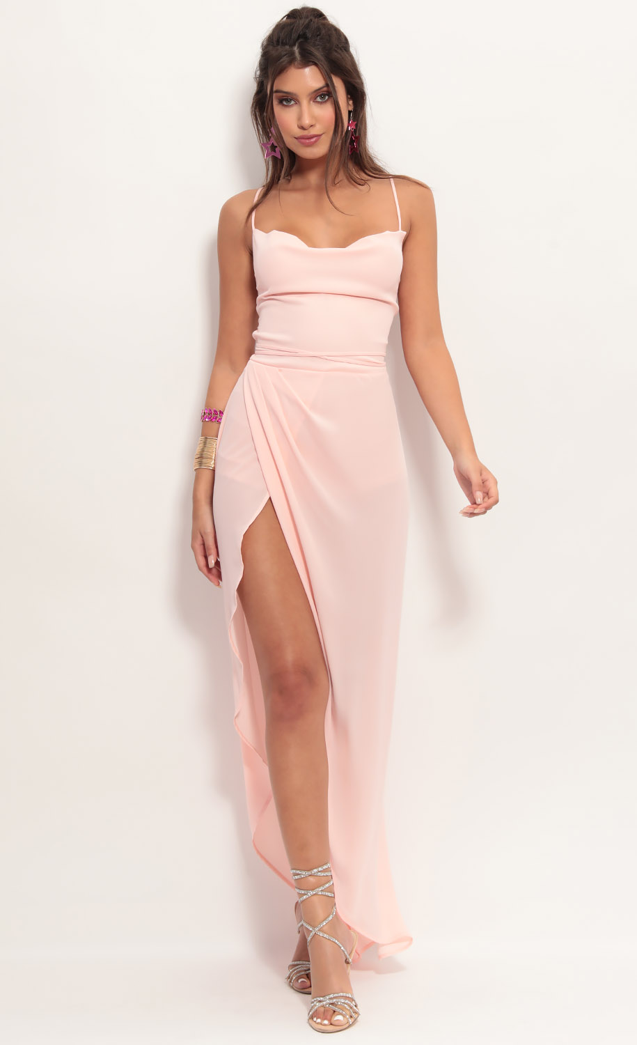 Chiffon Luxe Maxi Dress in Peach