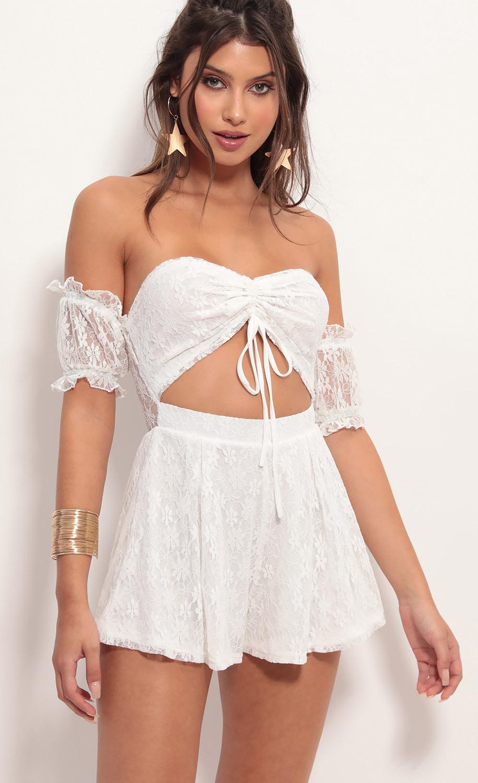 Hailee Dainty Lace Romper in White
