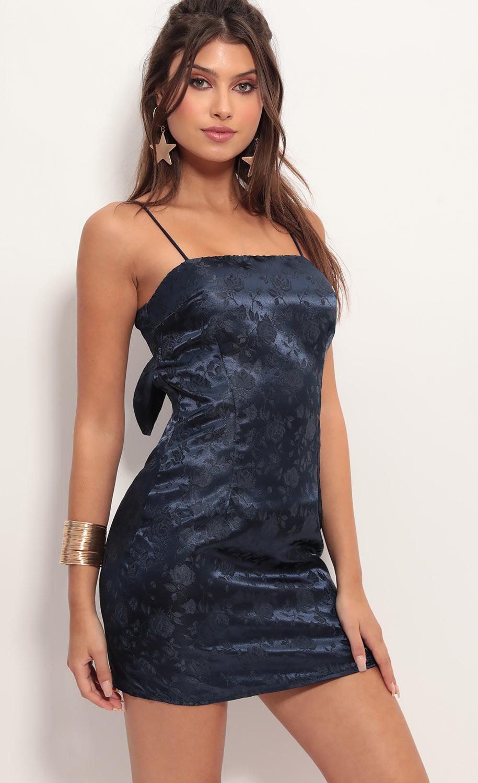 Ariel Satin Tie Back Dress In Navy