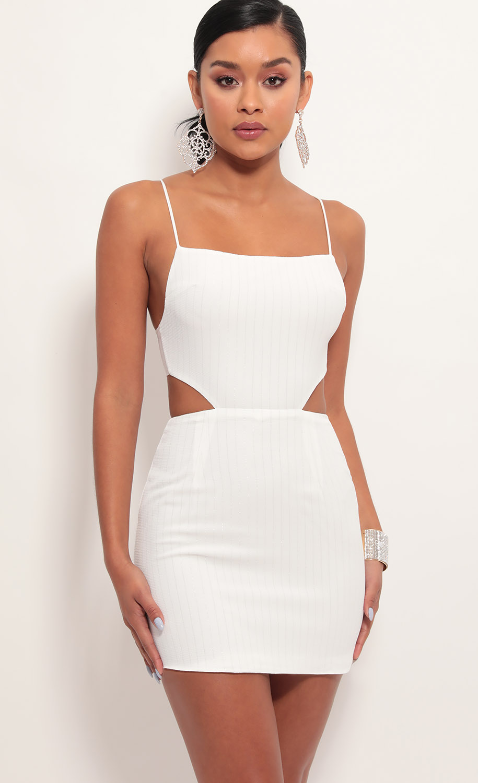 Lana Cutout Dress in White Pinstripes