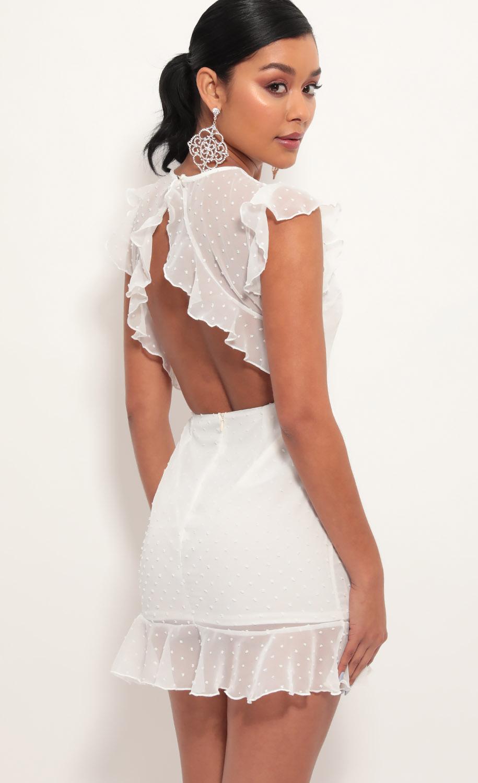 Open Back Babydoll Dress In White Dots