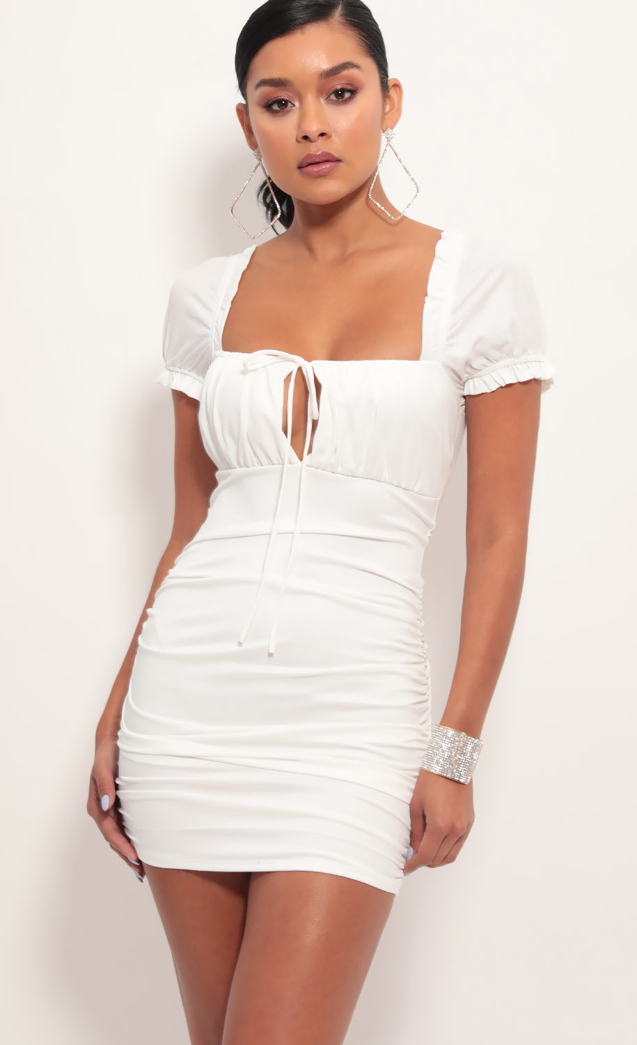 Marina Puff Sleeve Dress in White