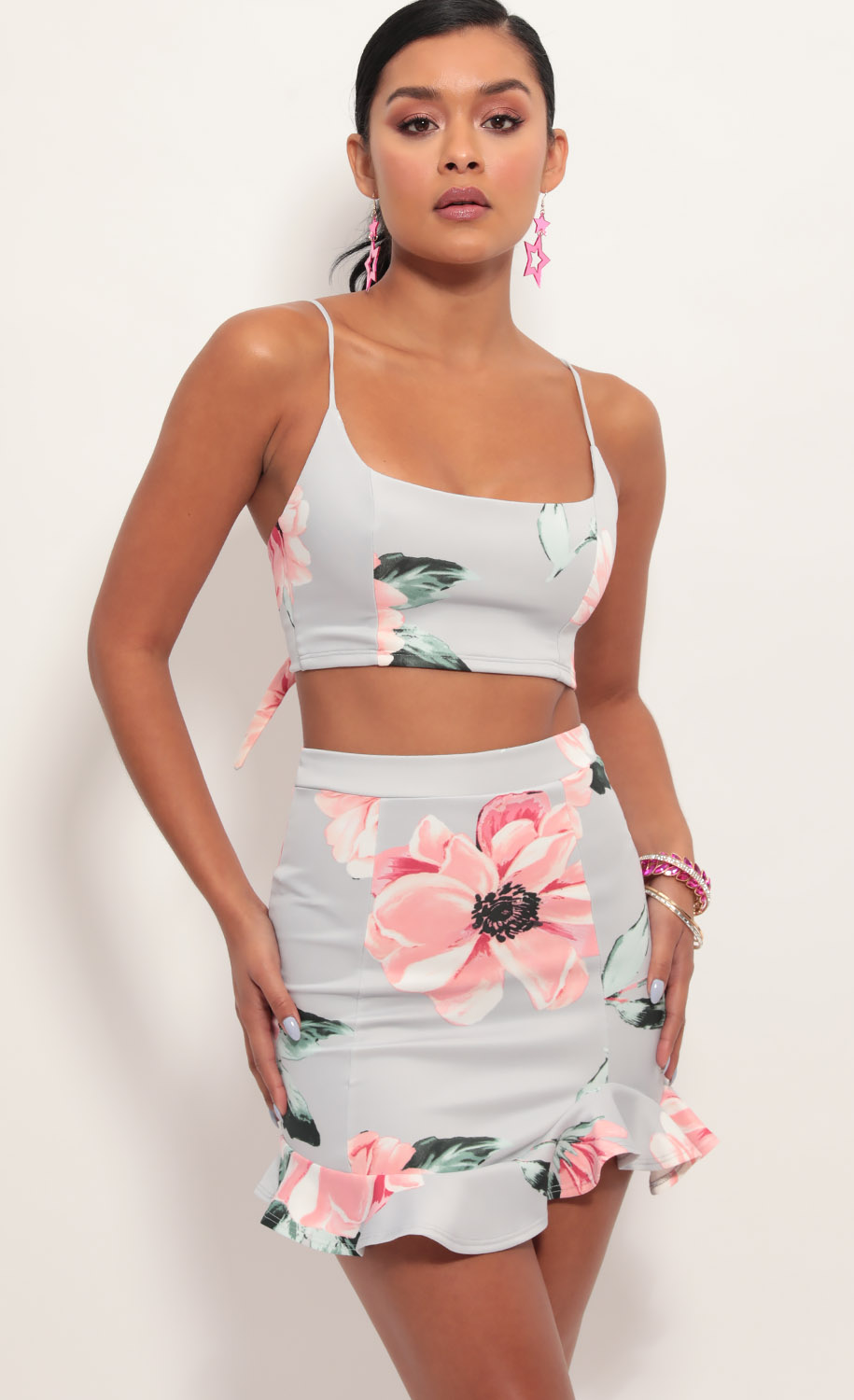 Monroe Ruffle Set in Pink Floral