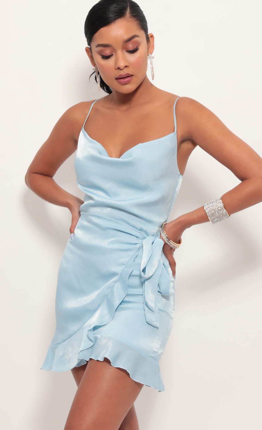 Positano Satin Tie Dress in Light Blue
