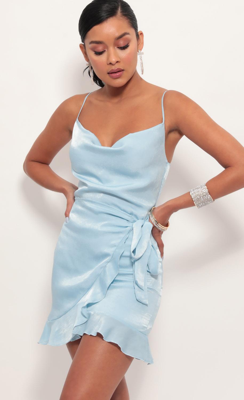 Positano Satin Tie Dress in Light Blue