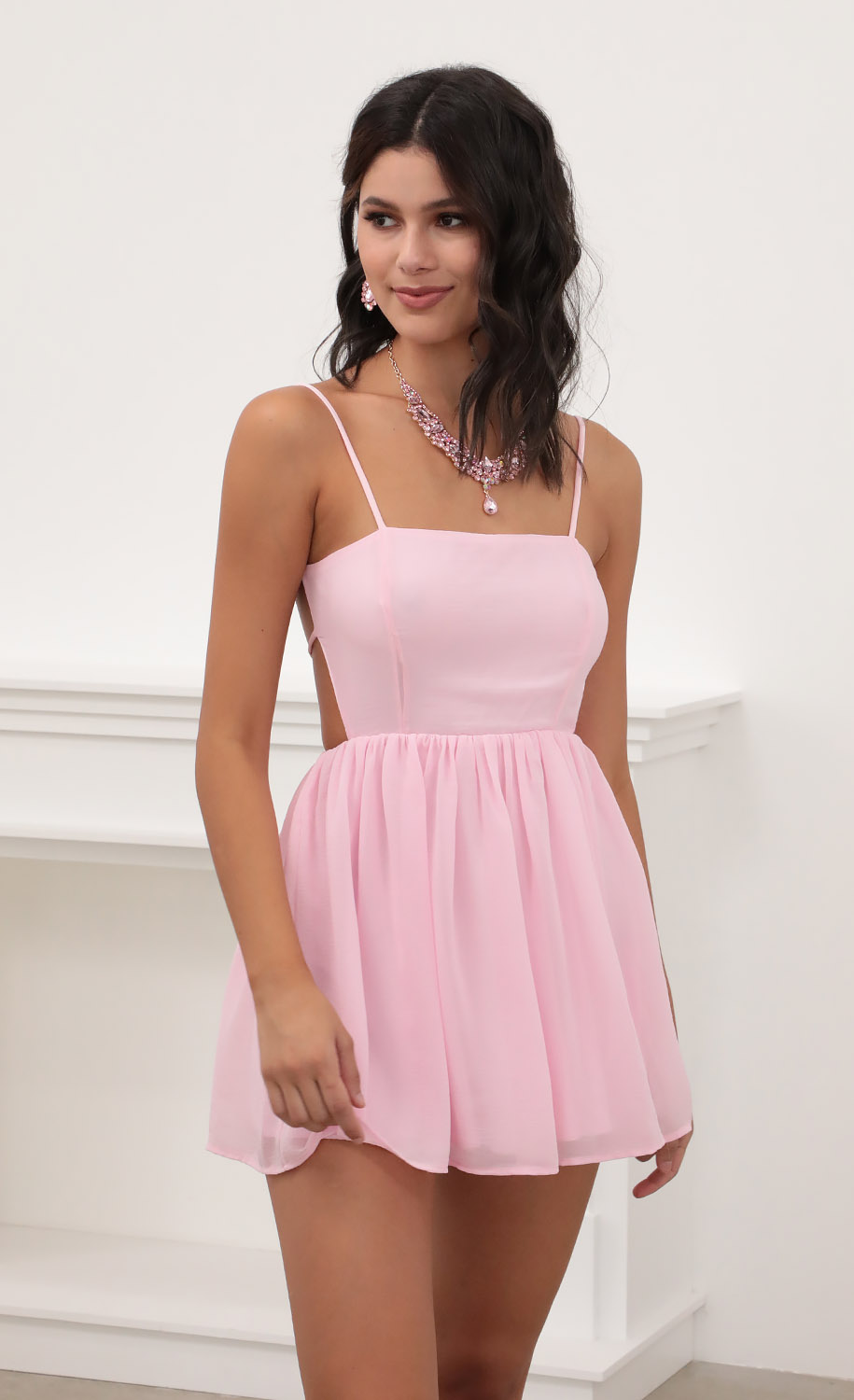 Jalissa A-line Dress in Light Pink