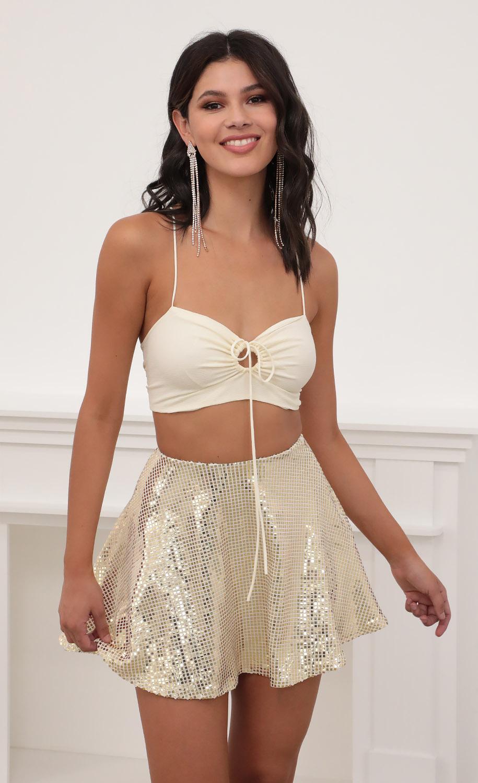 Kyra Mirror Sequin A-line Skirt
