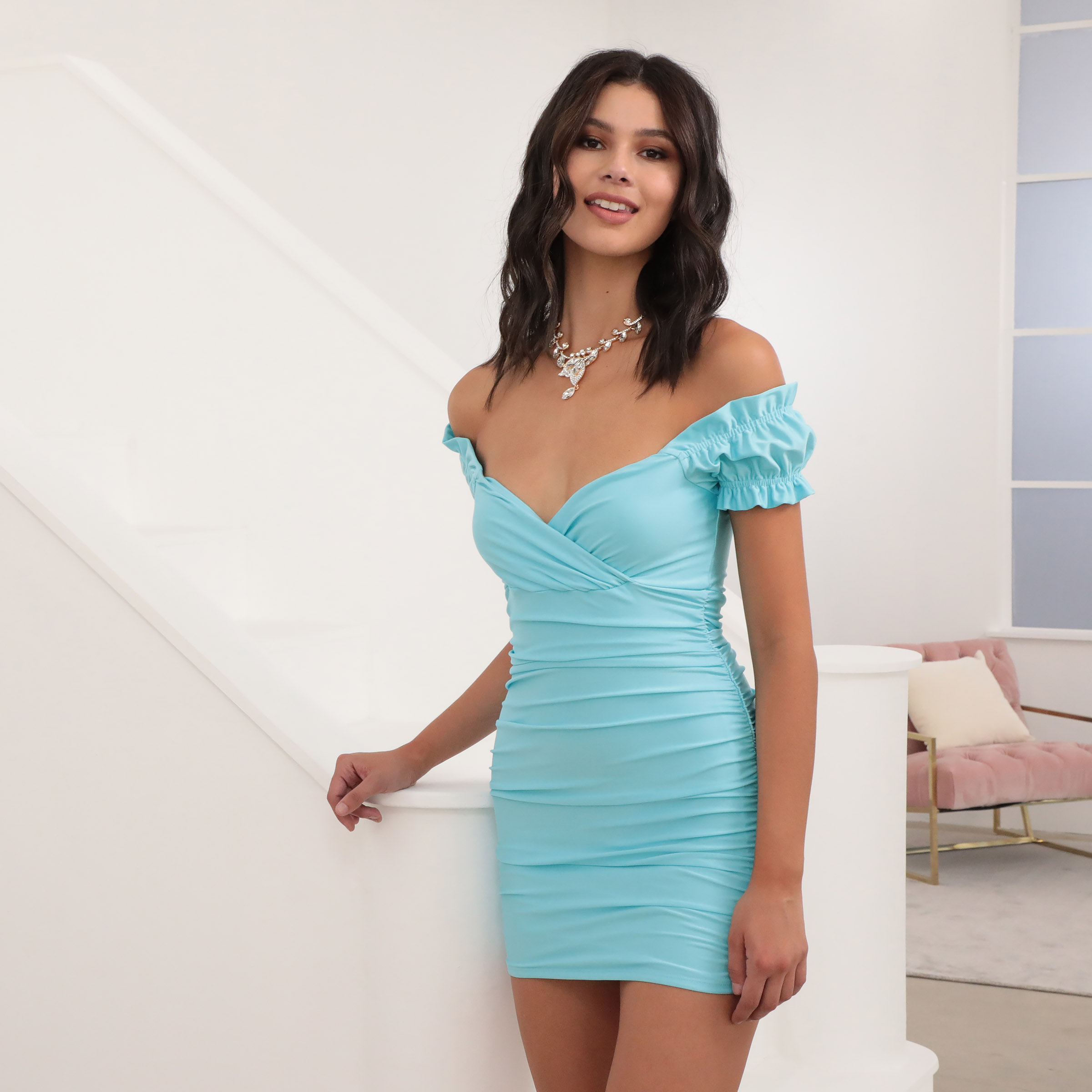 Karen Satin Puff Sleeve Dress in Aqua