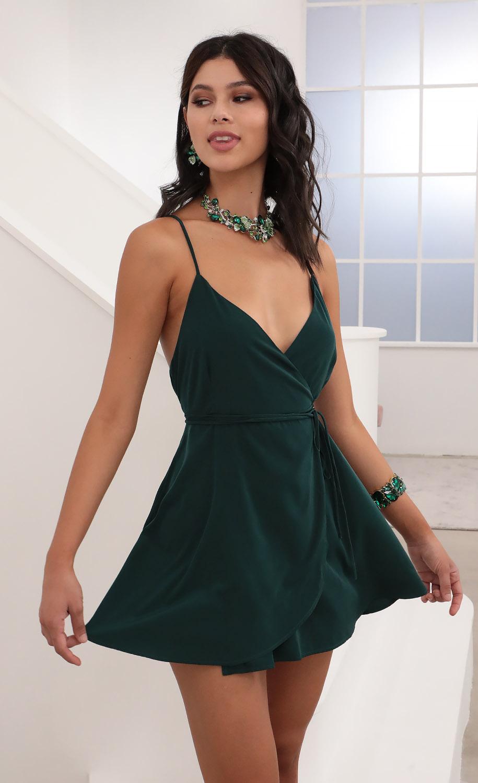 Charlotte A-Line satin  Dress in Hunter Green