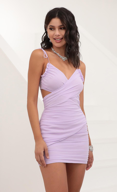 Kalene Bow Tie Bodycon Dress in Lavender
