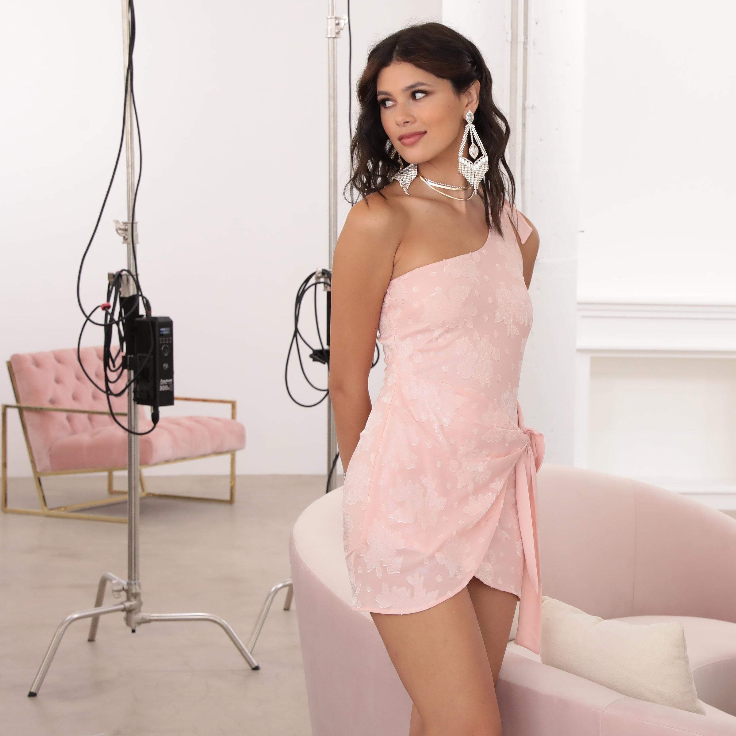 Chelsea Shoulder Tie Dress in Pink Floral