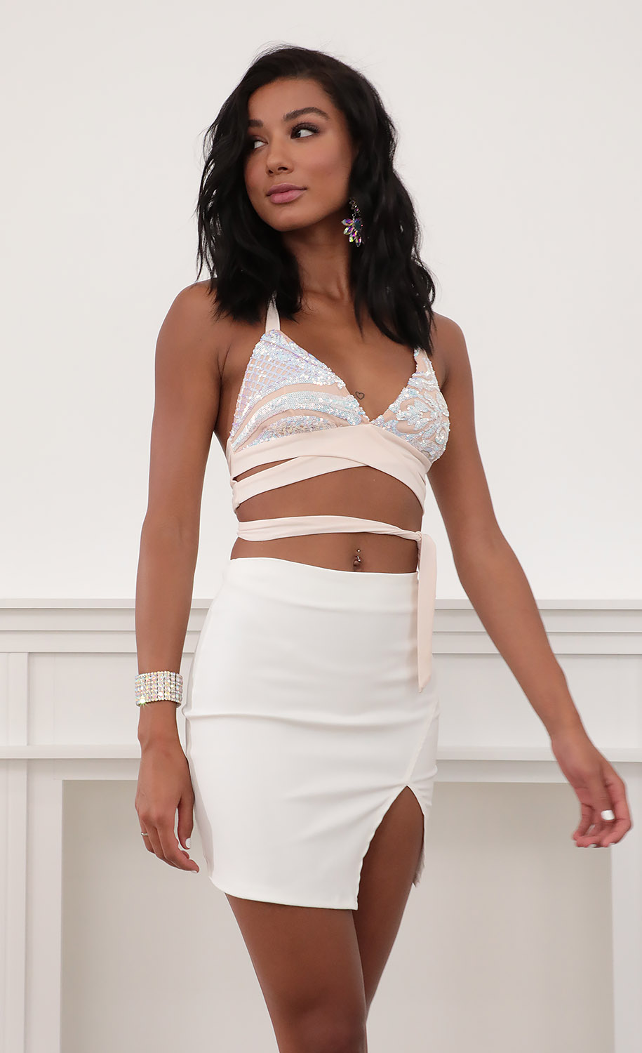 Margot High Waisted PU Leather Skirt in White