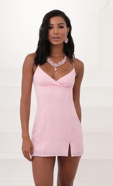 Mila Baby Doll Dress in Pink Polka Dot