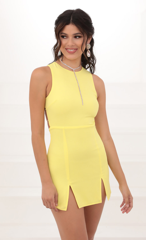 Violette Open Back Tank Dress in Yellow