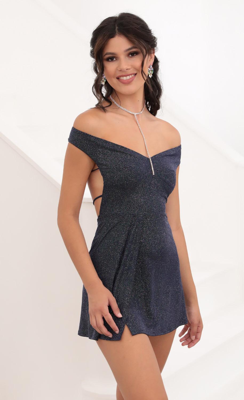 Dianna Off Shoulder Dress in Sparkling Navy