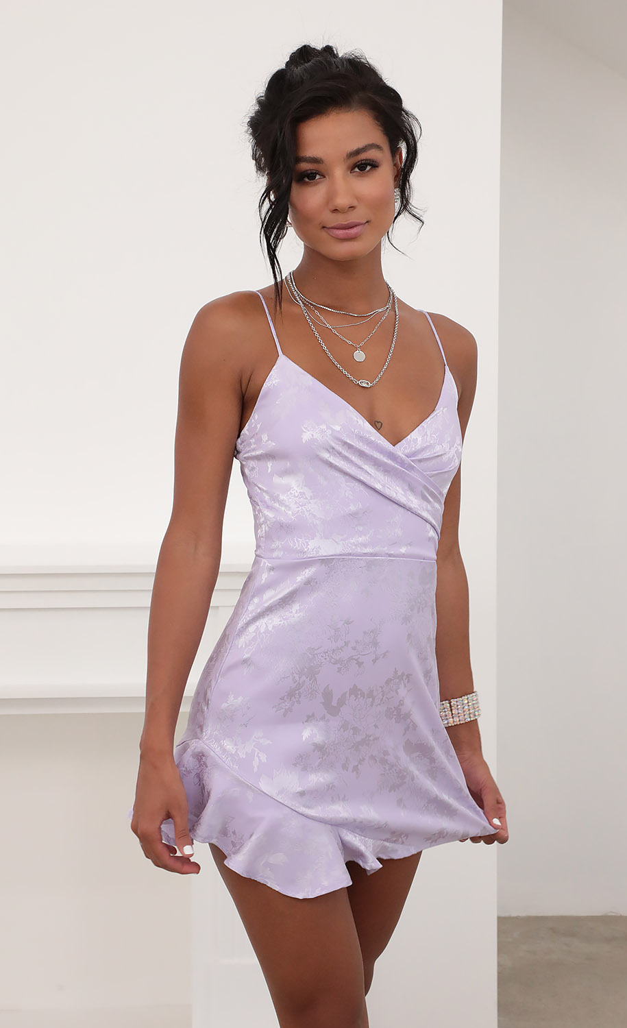 Kayden A-line Frill Dress in Lilac Floral