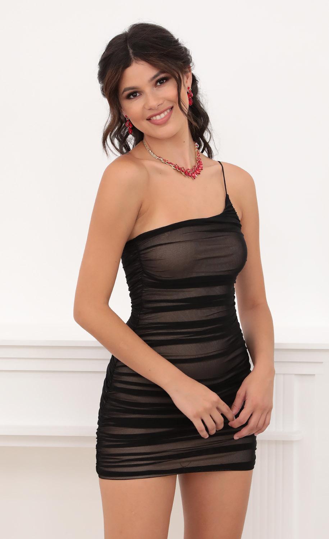 Gina Shoulder Mesh Bodycon in Black