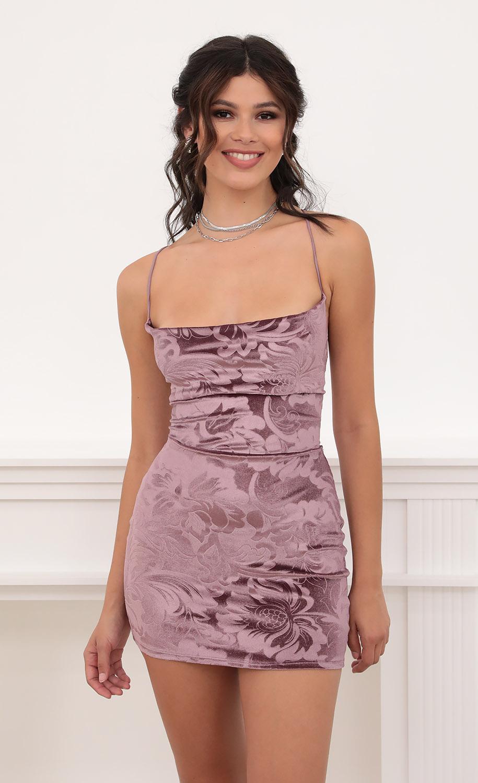 Cowl Neck Velvet Dress in Deep Mauve