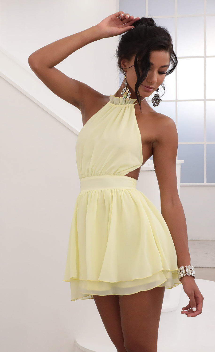 Brielle Halter Chiffon Dress in Yellow
