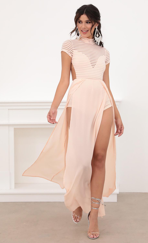 Couture Strip Mesh Maxi in Blush