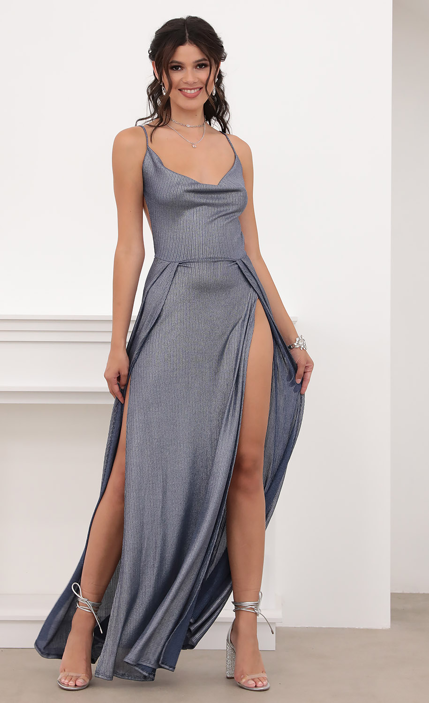 Dion Metallic Maxi Dress in Navy