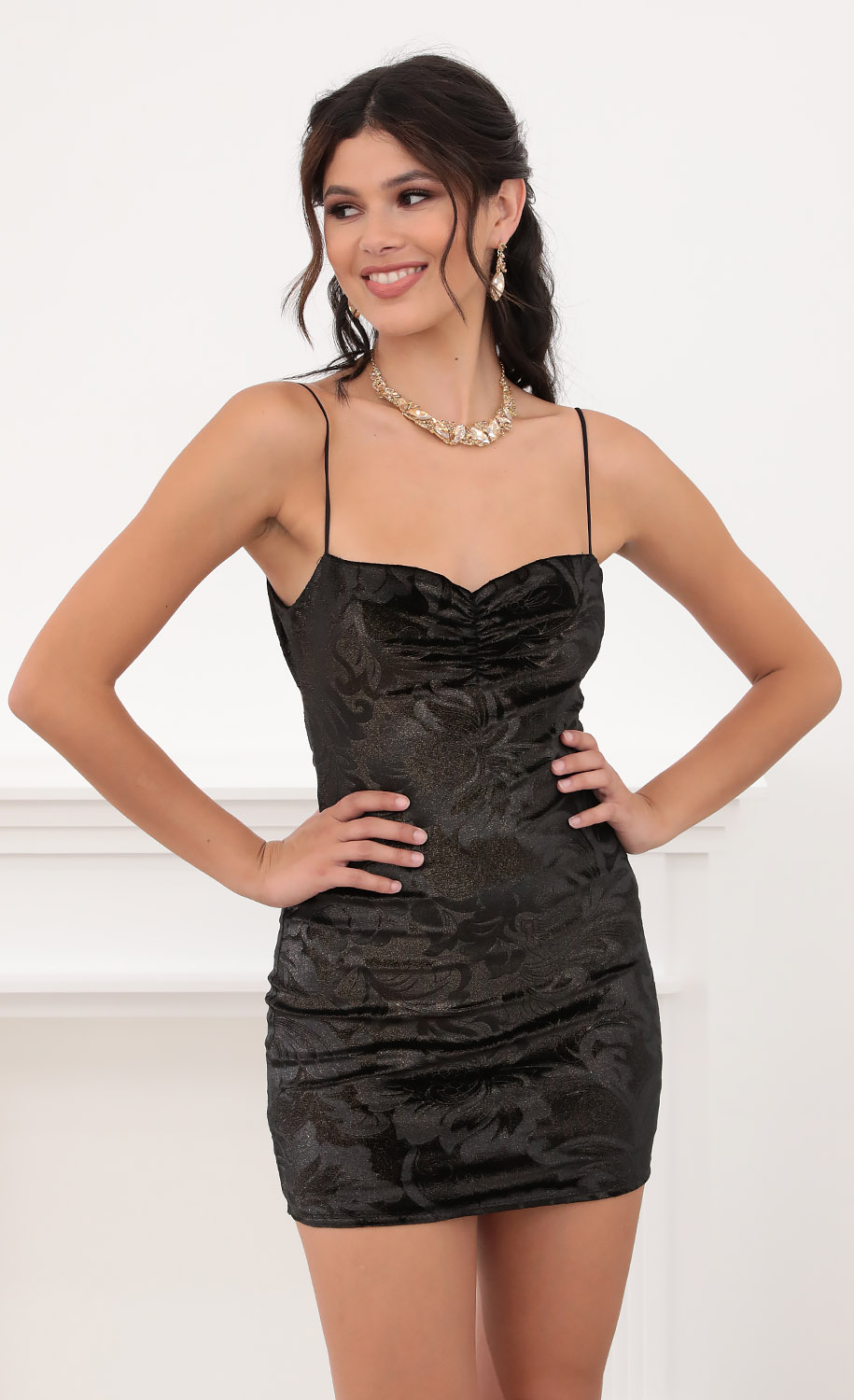 Kendall Velvet Dress in Black Shimmer