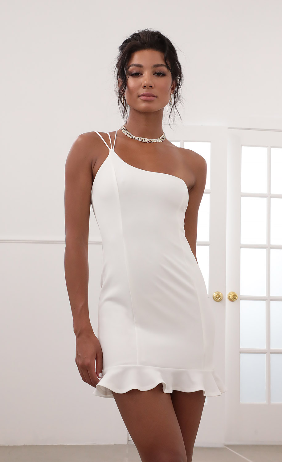 Embry Shoulder Ruffle Dress in White
