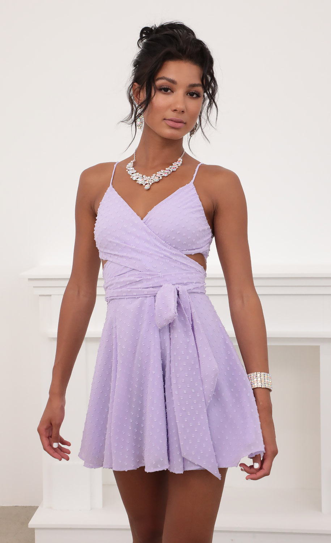 Jillian Chiffon Wrap Dress in Lavender Dots