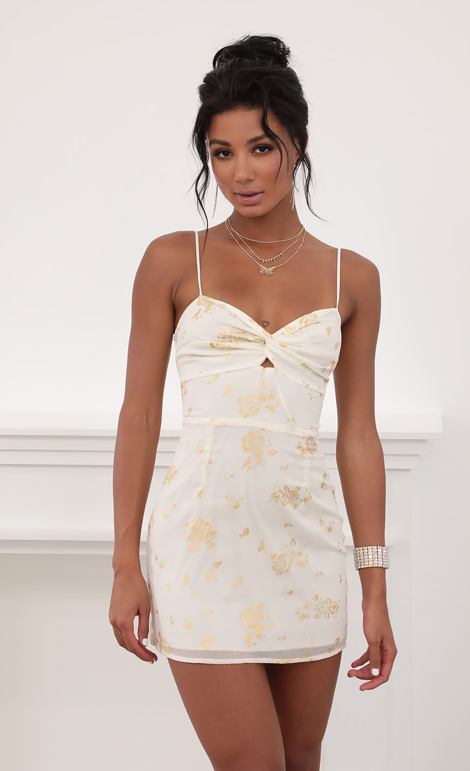 Evelyn Front Twist Chiffon Dress in Gold Rose Print