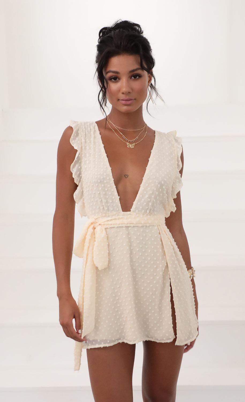 Layla Ruffle Dress in Vanilla Dots