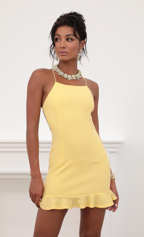 Gabby Halter Ruffle Dress in Yellow