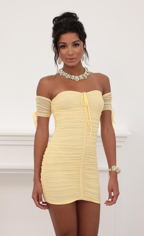 Aveline Mesh Ties Dress in Yellow