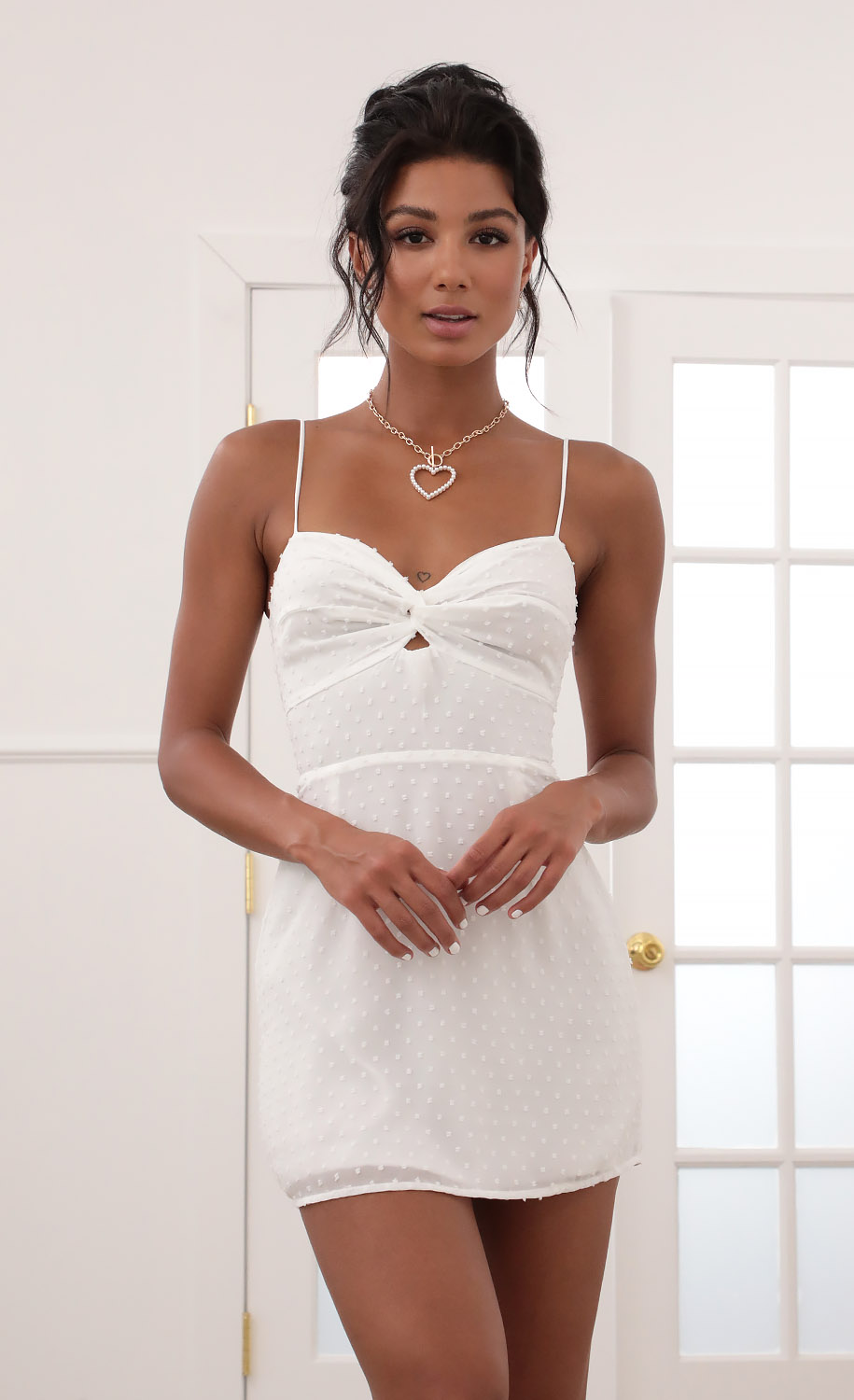 Evelyn Front Twist Chiffon Dress in White