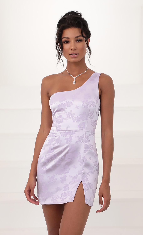 Liana Satin Jacquard Shoulder Dress in Lilac