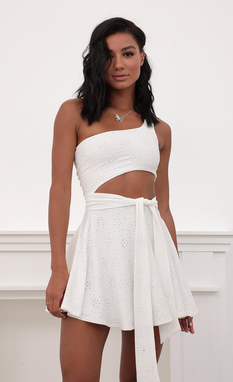 Amara Eyelet Shoulder A-line Dress in White