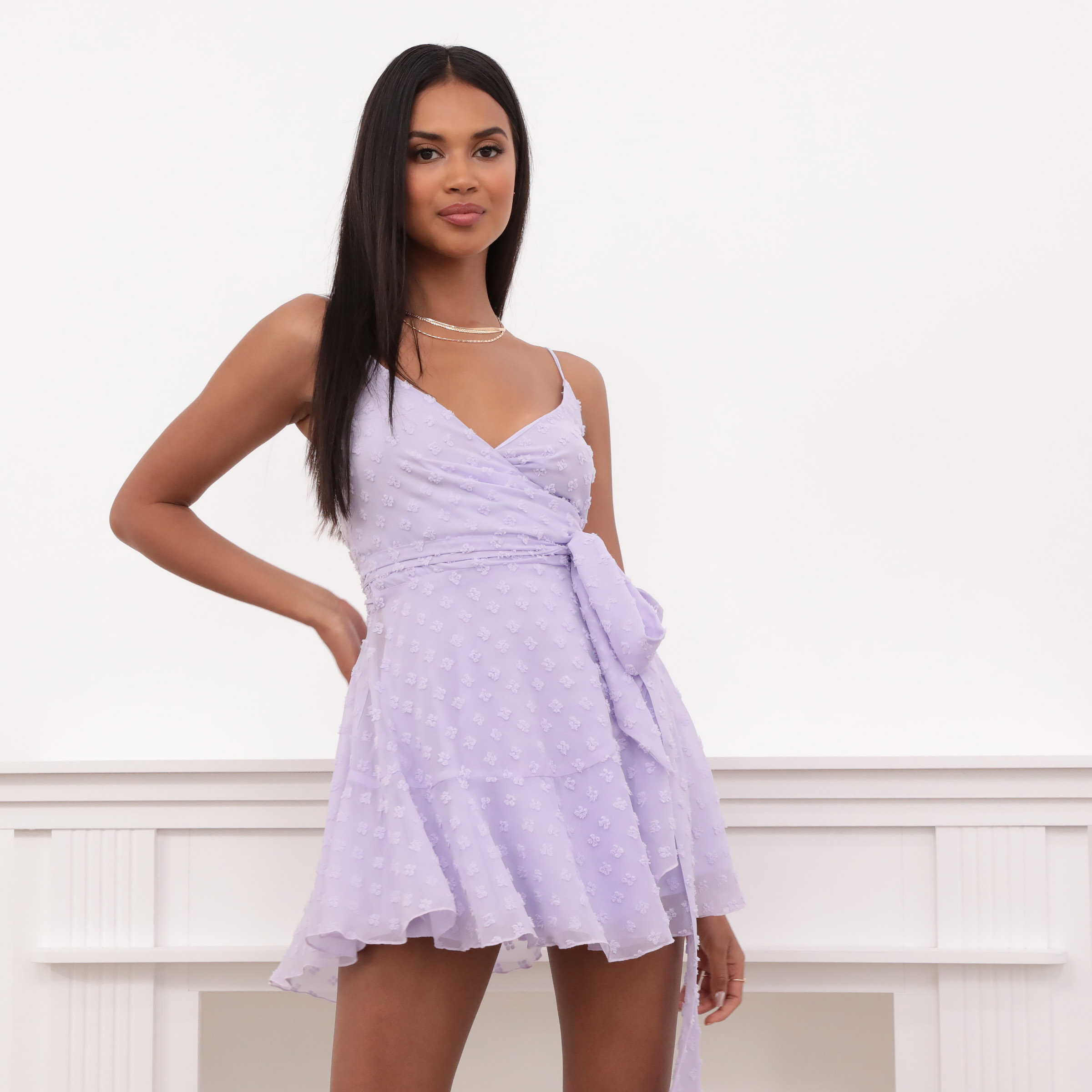 Ava Wrap Dress in Lavender Fil Coupe