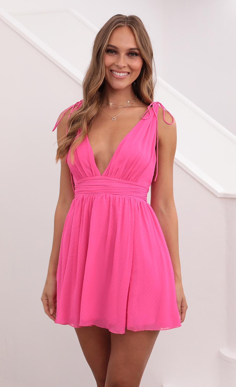 Ysabel Chiffon Dress in Hot Pink