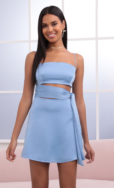 Betsy Cutout Tie Dress in Sky Blue