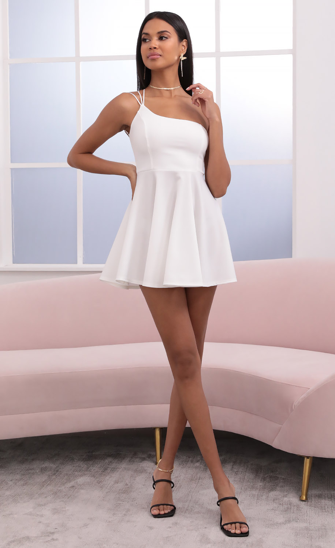 Aylah One Shoulder Dress in White