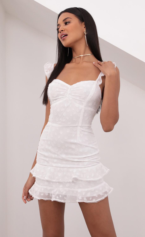 Danika Ruched Sweetheart Dress in White