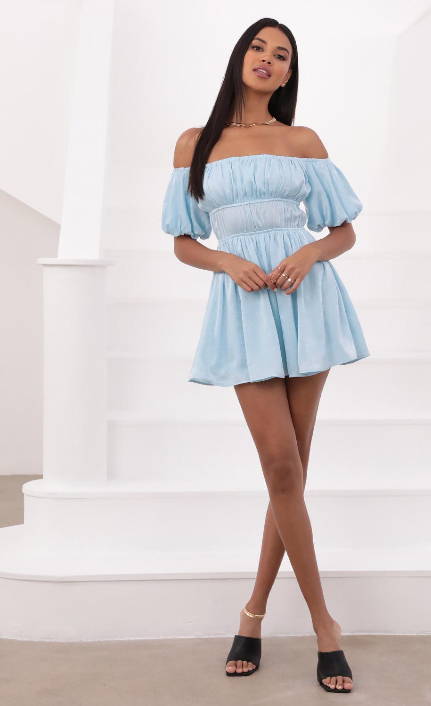 Dorothy Off The Shoulder Dress in Light Blue