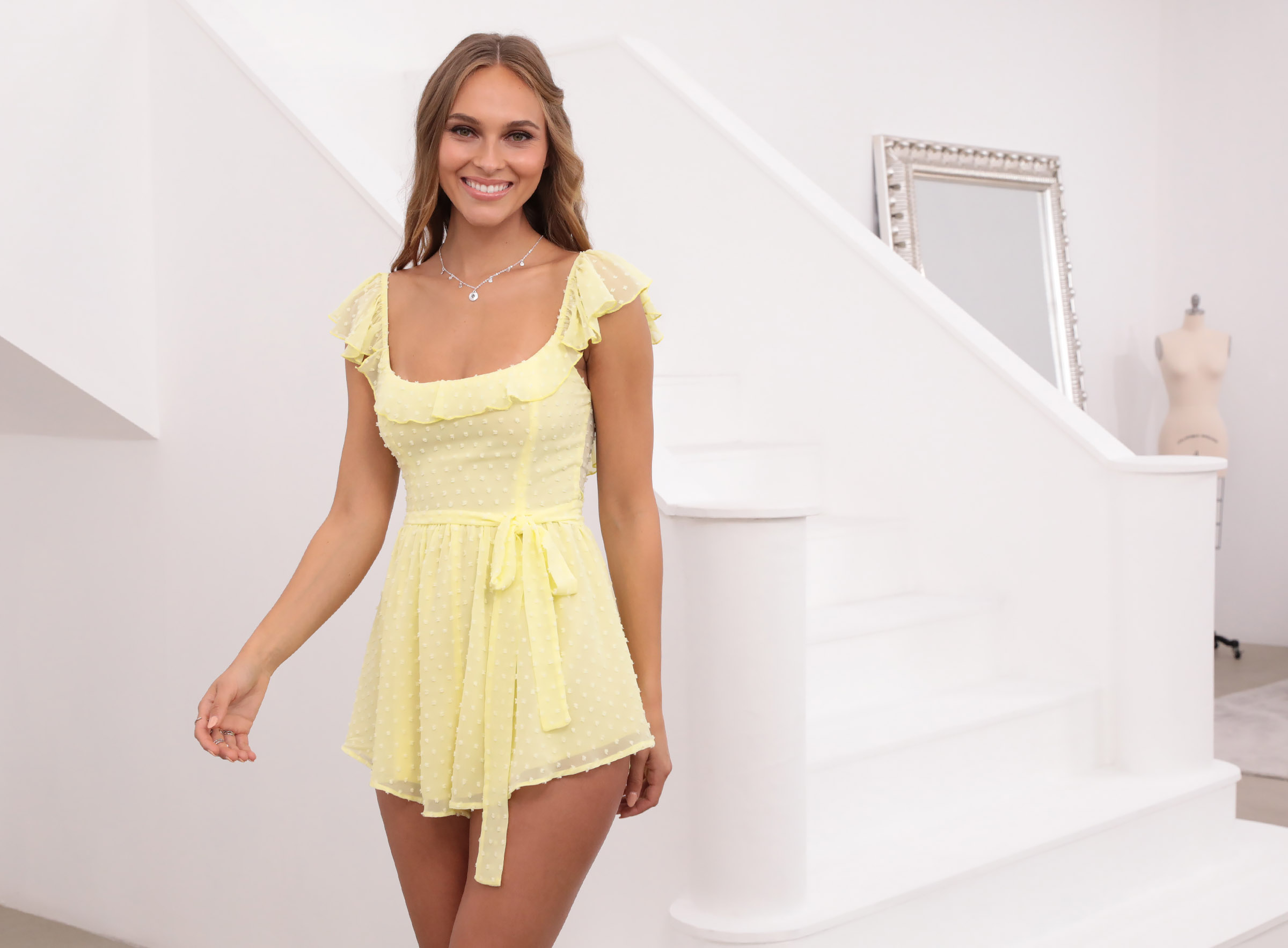 Effie Polka Dot Chiffon Romper in Yellow