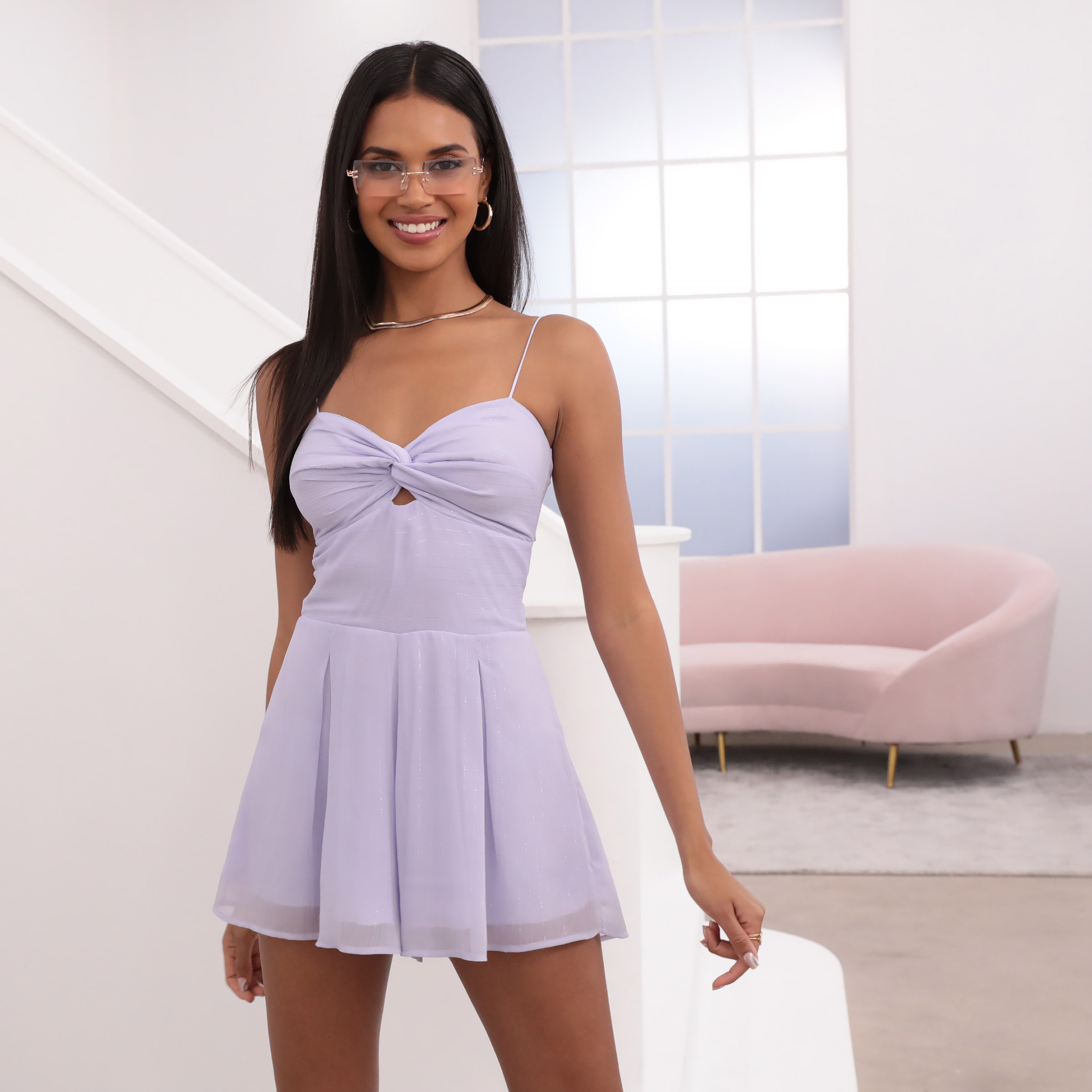Casey Lavender Romper with Silver Pinstripes