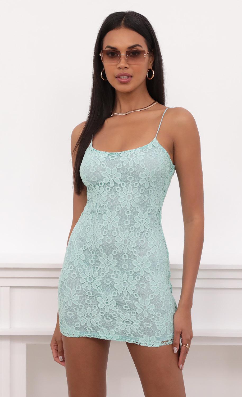 Glisten Bodycon Dress In Aqua Floral Lace