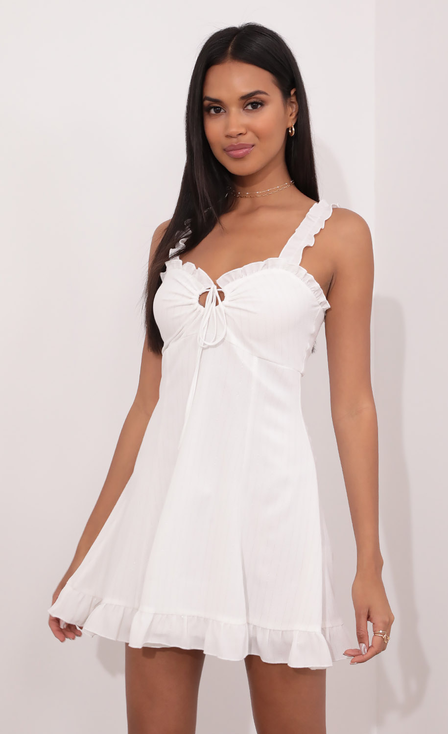 Ada Sweetheart Dress in White with Silver Pinstripes