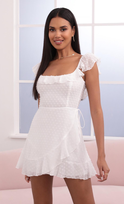 Lini Wrap Dotted Chiffon Dress in White