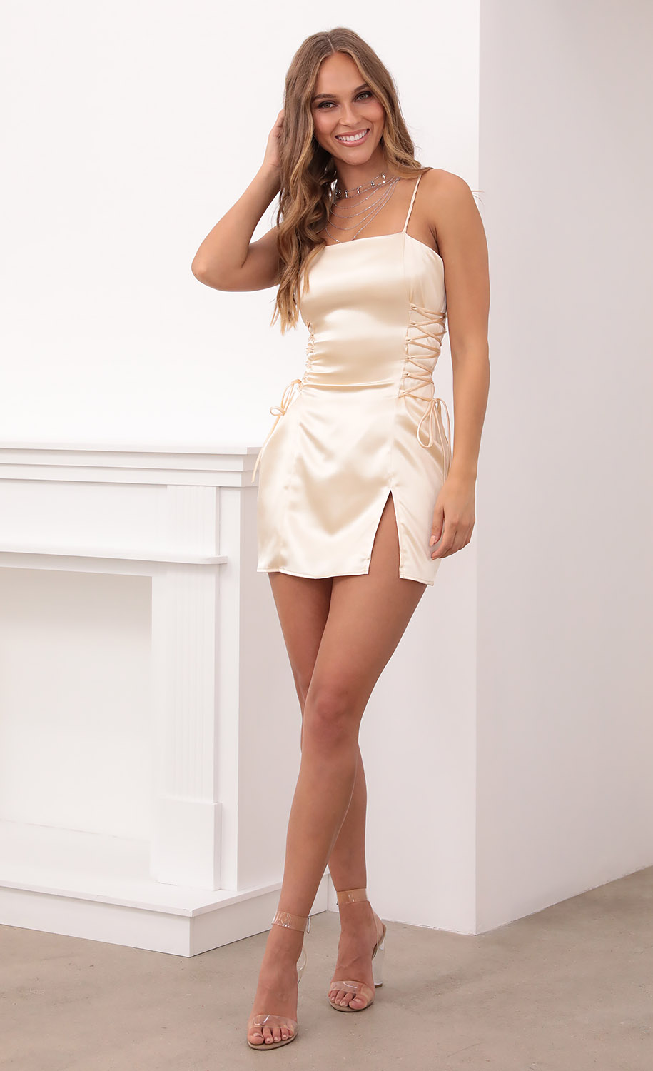 Lucy Sky Dress in Champagne Satin