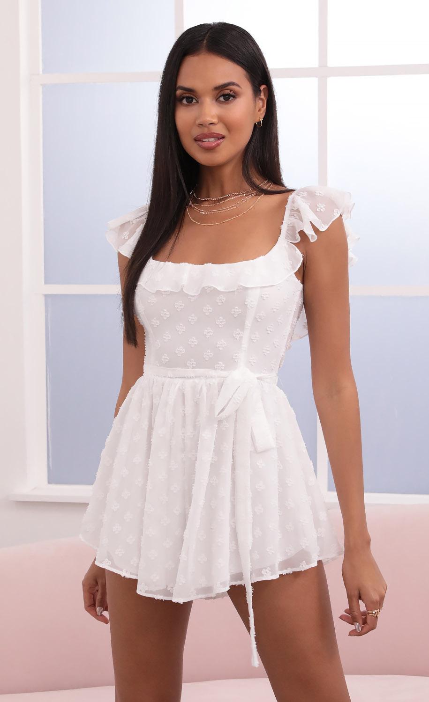 Askyla Ruffle Romper in White